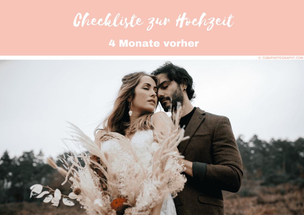 4 Monate vorher-Hochzeitscheckliste
